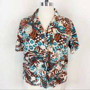 Erika 90s Abstract Button Up Camp Shirt Size 1X
